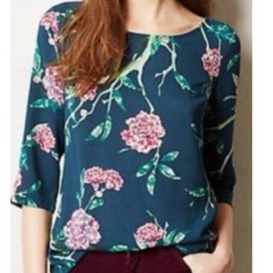 Anthropologie HD in Paris 3/4 Sleeve Floral Blouse